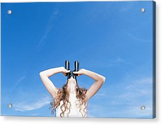 Woman Using Binocular, Looking Up, Low Angle View Acrylic Print by David De Lossy