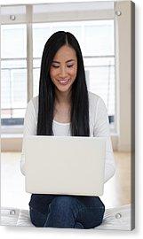 Woman Using Laptop Acrylic Print