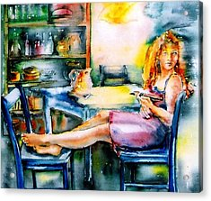Acrylic Print featuring the painting Woman Waiting No 2 by Trudi Doyle