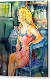 Acrylic Print featuring the painting Woman Waiting  by Trudi Doyle