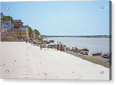 Woman Walking Along The Ganges River Acrylic Print