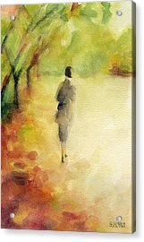 Woman Walking Autumn Landscape Watercolor Painting Acrylic Print by Beverly Brown