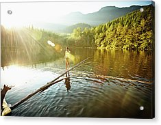 Woman Walking On Log In Alpine  Lake Acrylic Print by Thomas Barwick