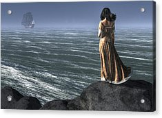 Woman Watching A Ship Sailing Away Acrylic Print by Daniel Eskridge