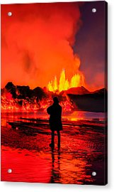 Woman Watching The Lava Flow Acrylic Print by Panoramic Images
