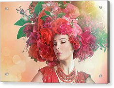 Woman Wearing A Big Red Hat Made Of Acrylic Print by Paper Boat Creative