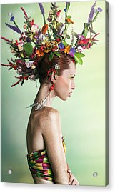 Woman Wearing A Colorful Floral Mohawk Acrylic Print