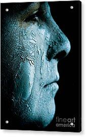 Woman Wearing A Green Mud Mask Acrylic Print by Amy Cicconi