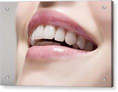 Woman Wearing Lip Gloss Acrylic Print by Image Source