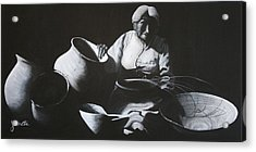 Woman Weaving A Basket Acrylic Print