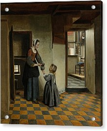 Woman With A Child In A Pantry Acrylic Print by Pieter de Hooch
