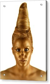 Woman With A Golden Face Acrylic Print by Darren Greenwood