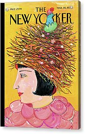 Woman With A Hat That Looks Like A Birds Nest Acrylic Print