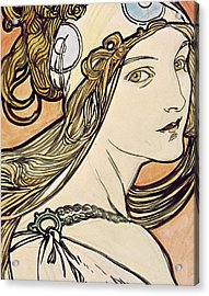 Woman With A Headscarf Acrylic Print by Alphonse Marie Mucha