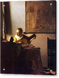 Woman With A Lute Acrylic Print by Johannes Vermeer