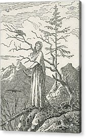Woman With A Raven On The Edge Of A Precipice Acrylic Print by Caspar David Friedrich