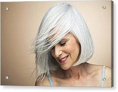 Woman With A Silvery,grey Bob Looking Down. Acrylic Print by Andreas Kuehn