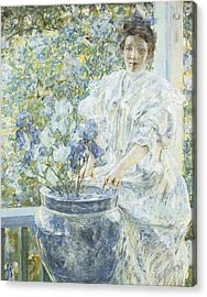 Woman With A Vase Of Irises Acrylic Print by Robert Reid
