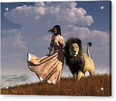 Woman With African Lion Acrylic Print