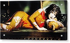 Woman With Arm And Leg Painted Lying On Sofa Acrylic Print by Eryk Fitkau