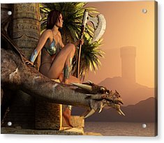 Acrylic Print featuring the digital art Woman With Axe And Dragon by Kaylee Mason