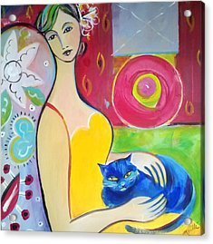 Woman With Blue Cat Acrylic Print by Marlene LAbbe