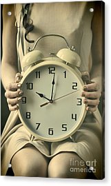 Woman With Clock Acrylic Print by Craig B