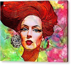 Woman With Earring Acrylic Print