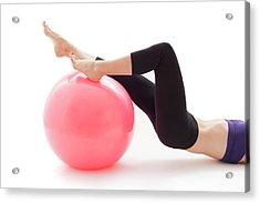 Woman With Fitness Ball Acrylic Print