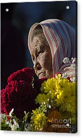 Woman With Flowers - Day Of The Dead Mexico Acrylic Print by Craig Lovell