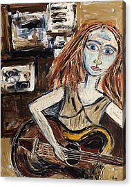 Woman With Guitar Acrylic Print by Maggis Art