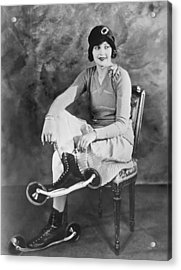Woman With Her Bicycle Skates Acrylic Print by Underwood Archives