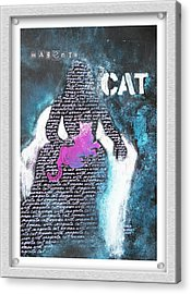 Woman With Magenta Cat Acrylic Print by Eve Riser Roberts