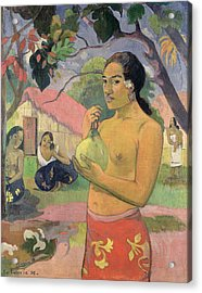 Woman With Mango Acrylic Print by Paul Gauguin