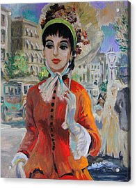 Woman With Parasol In Paris Acrylic Print