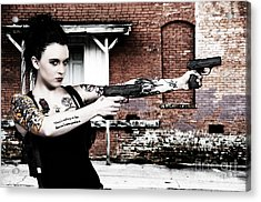 Woman With Pistols Acrylic Print by Rob Byron