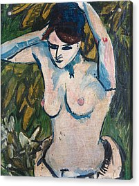 Woman With Raised Arms Acrylic Print by Ernst Ludwig Kirchner