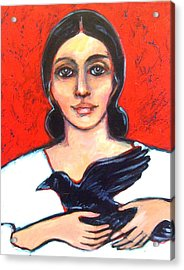 Woman With Raven Acrylic Print by Carol Suzanne Niebuhr