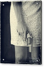 Woman With Revolver 60 X 45 Custom Acrylic Print by Edward Fielding