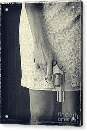 Woman With Revolver Acrylic Print by Edward Fielding