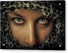 Woman With Scarf Acrylic Print