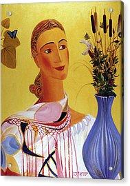 Woman With Shawl Acrylic Print