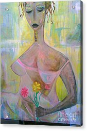 Woman With Three Flowers Acrylic Print