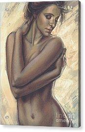 Woman With White Drape Crop Acrylic Print