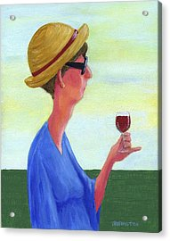 Woman With Wine Acrylic Print by Theresa Johnson
