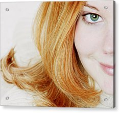 Womans Face Acrylic Print by Darren Greenwood