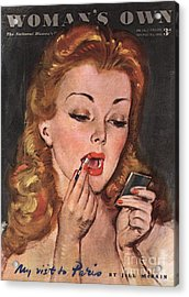 WomanÕs Own 1945 1940s Uk Make-up Acrylic Print by The Advertising Archives