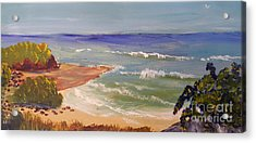 Acrylic Print featuring the painting Wombarra Beach by Pamela  Meredith