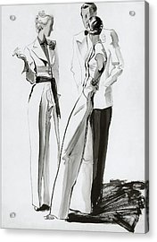 Women And A Man In Suits Acrylic Print