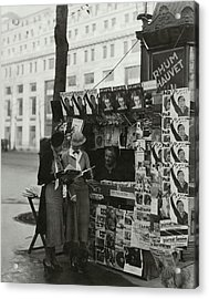 Women At A Newsstand In Paris Acrylic Print